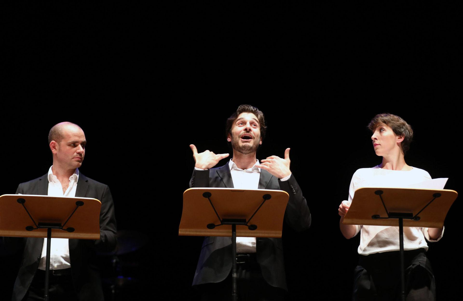 Michele Dell'Utri, Lino Guanciale e Diana Manea Immagina John Lennon - Poesia Festival '17 photo © Serena Campanini