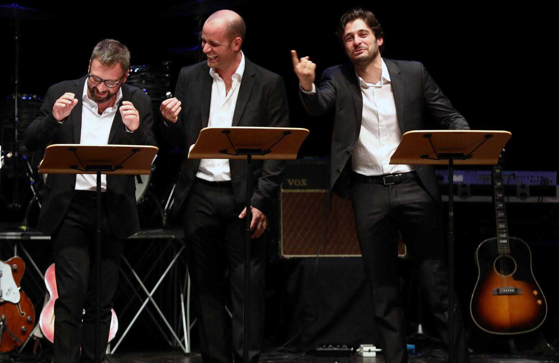 Nicola Bortolotti, Michele Dell'Utri e Lino Guanciale Immagina John Lennon - Poesia Festival '17 photo © Serena Campanini